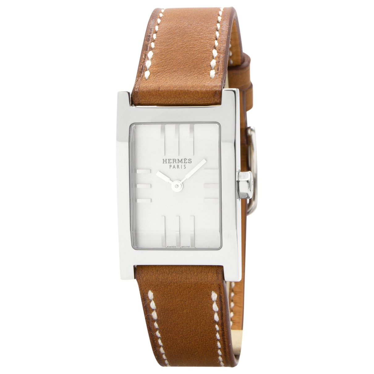 Hermès Tandem Silver Steel watch for Women N