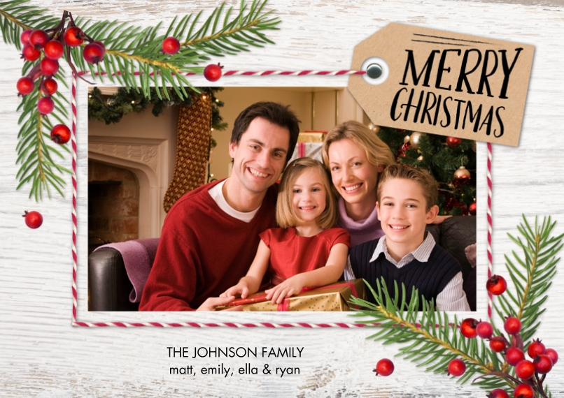 Christmas Photo Cards 5x7 Cards, Premium Cardstock 120lb, Card & Stationery -Christmas Tag Pine Berries
