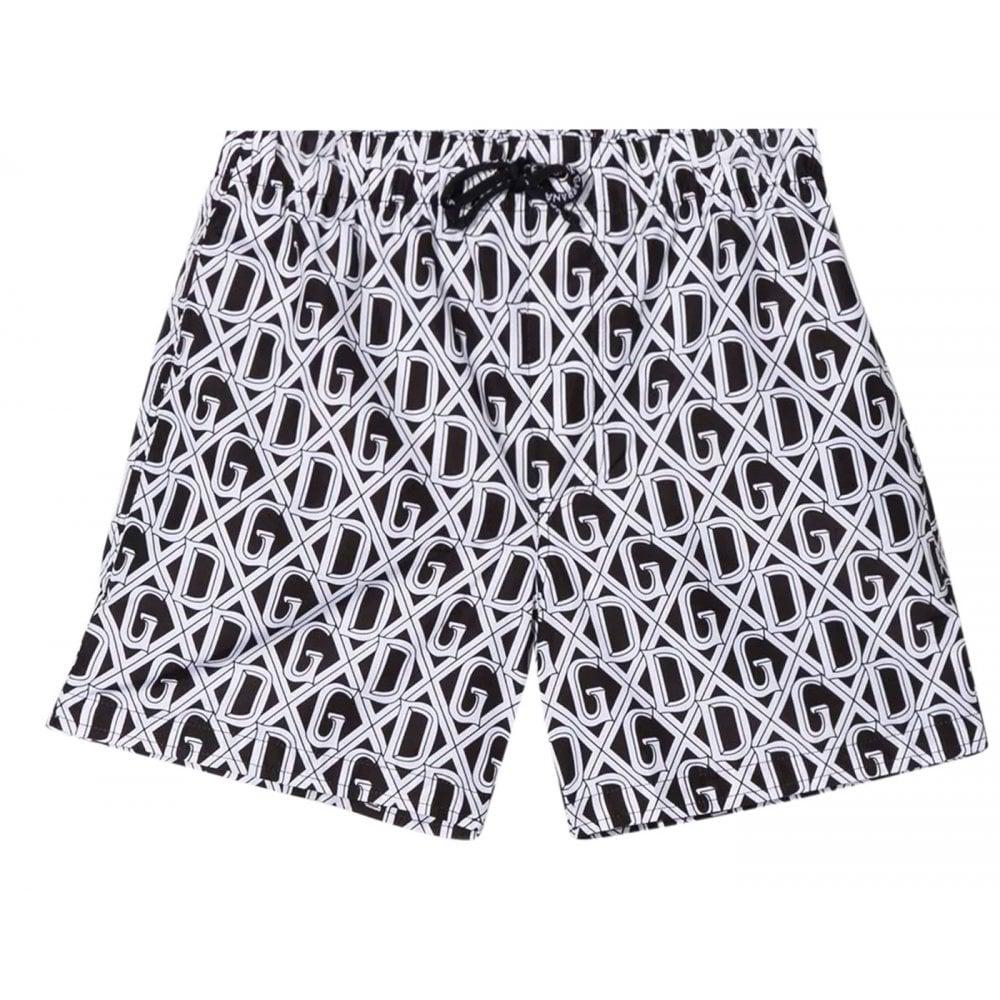 Dolce & Gabbana Logo Swim Shorts Colour: BLACK, Size: 6 YEARS