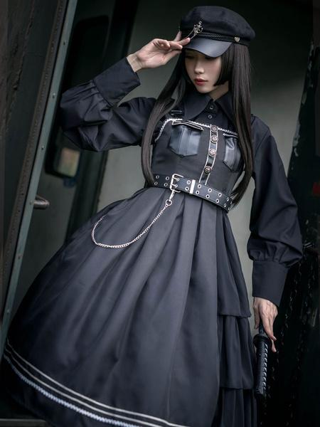 Milanoo Lolitashow Gothic Lolita JSK Dress Estilo militar Negro PU Cadenas Vestido Gothic Lolita Jumper Faldas
