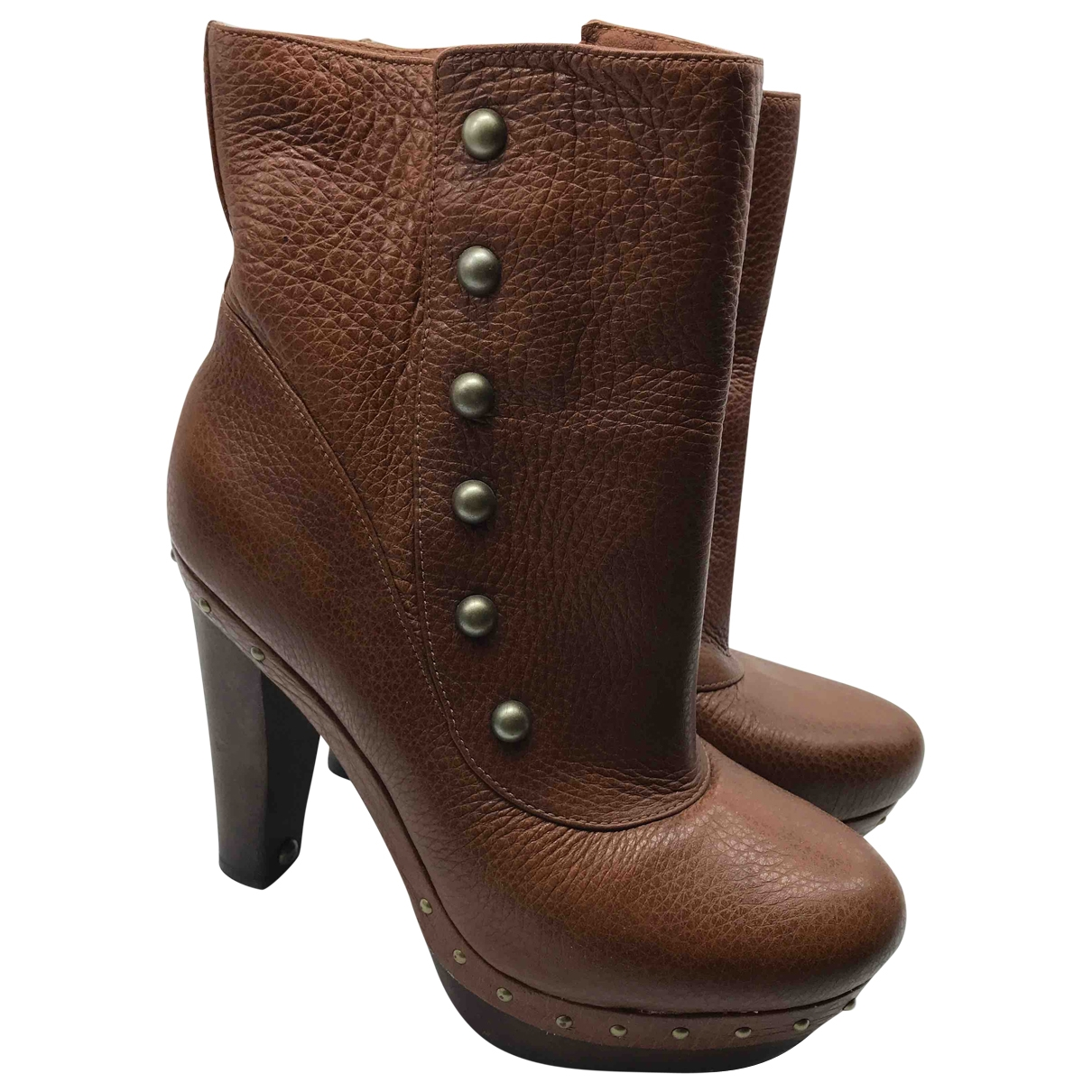 Ugg \N Brown Leather Ankle boots for Women 41 EU