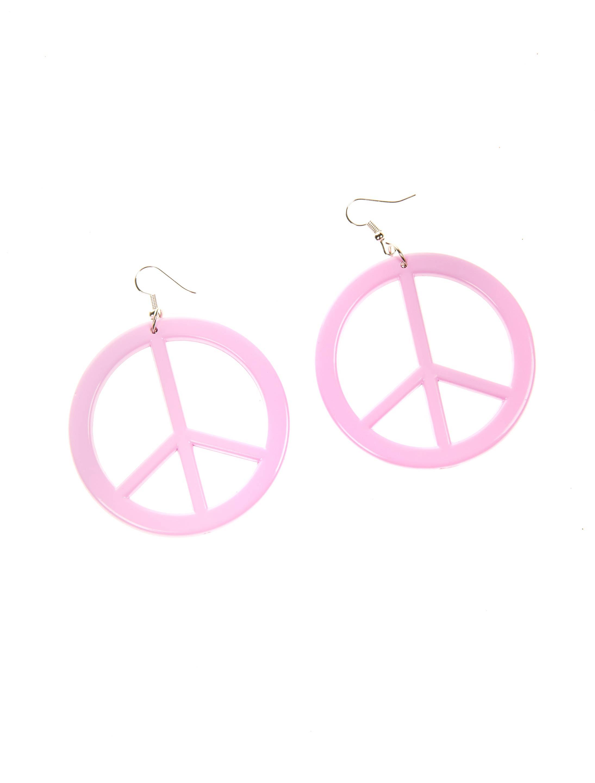 Kostuemzubehor Ohrringe Peacezeichen rosa