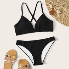 Bikini Badeanzug mit Kreuzgurt und Band hinten