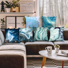 1pc Marble Pattern Cushion Cover Without Filler