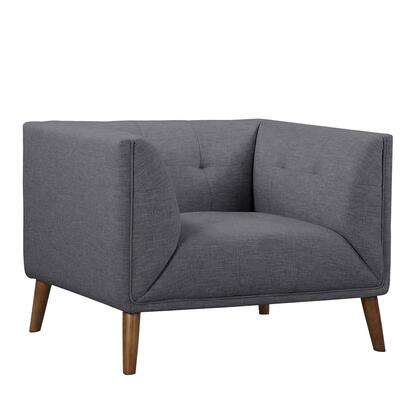 Hudson Collection LCHU1DG Mid-Century Button-Tufted Chair in Dark Gray Linen and Walnut