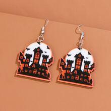 Halloween Castle Drop Earrings