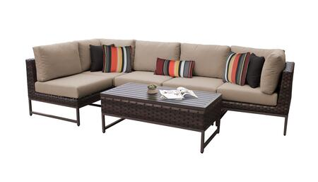Barcelona BARCELONA-06q-BRN-WHEAT 6-Piece Patio Set 06q with 2 Corner Chairs  3 Armless Chairs and 1 Coffee Table - Beige and Wheat Covers with Brown