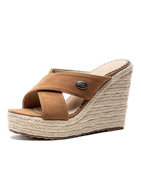 Milanoo Alpargatas Wedge Heel Mules Zapatos de talla grande para mujer