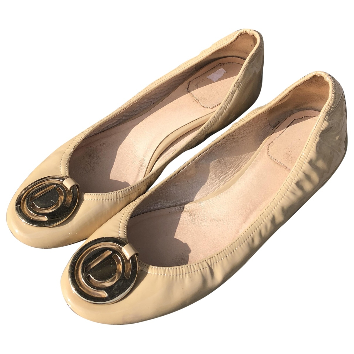 Dior \N Ballerinas in  Beige Lackleder