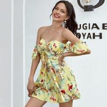 Double Crazy Kleid mit tropischem Muster und Kordelzug