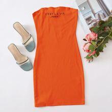 Neon Orange Slogan Graphic Tube Bodycon Dress