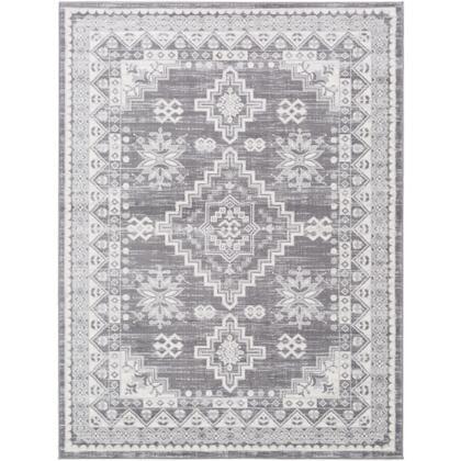 Roma ROM-2321 710 x 10 Rectangle Traditional Rug in Medium Gray  Light Gray