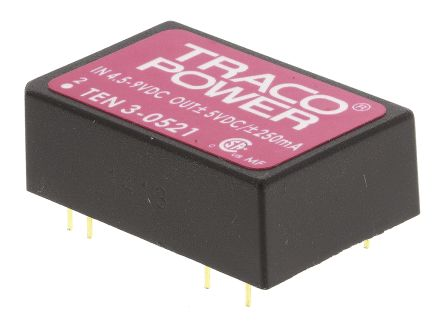 TRACOPOWER TEN 3 3W Isolated DC-DC Converter Through Hole, Voltage in 4.5 → 9 V dc, Voltage out ±5V dc