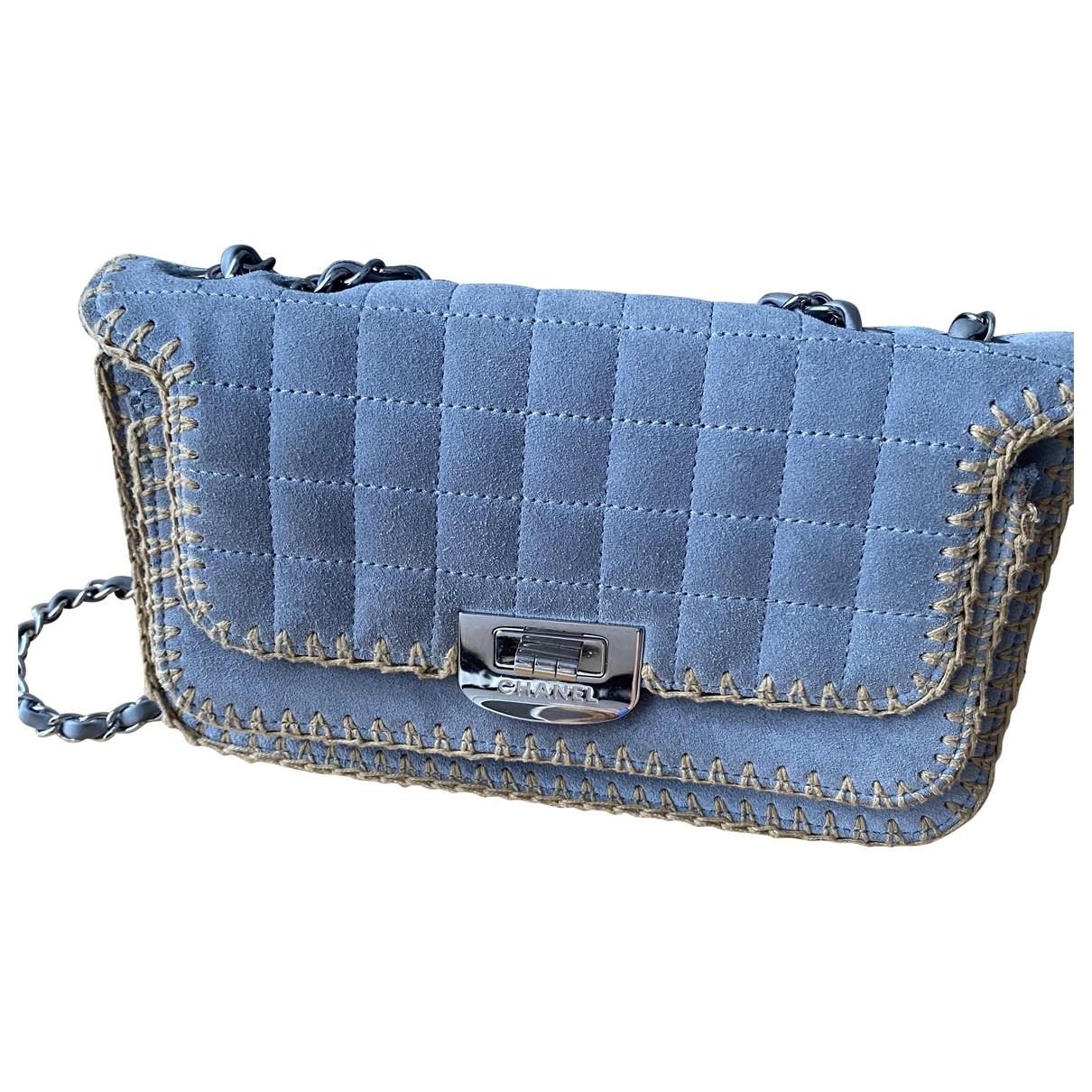 Chanel 2.55 Handtasche in  Blau Veloursleder