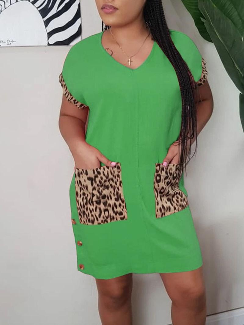 Ericdress Short Sleeve V-Neck Button Casual Regular Dress