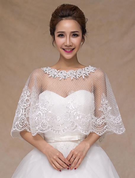 Milanoo Ivory de encaje elegante boda pura moda nupcial manton