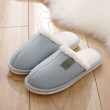 Letter Patch Fluffy Slippers