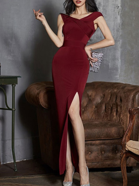 Milanoo Maxi Dress Short Sleeves Burgundy V-Neck Split Front Layered Polyester Floor Length Dress