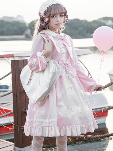 Milanoo Sweet Lolita OP Dress Burgundy Ruffles Lolita One Piece Dresses