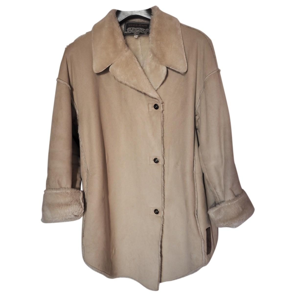 Krizia - Manteau   pour femme en fourrure synthetique - ecru