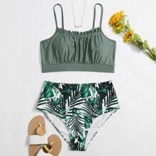 Plus Tropical Ruched Bust Bikini Swimsuit