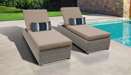 Coast Collection COAST-W-2x-WHEAT Set of 2 Chaises - Beige and Wheat