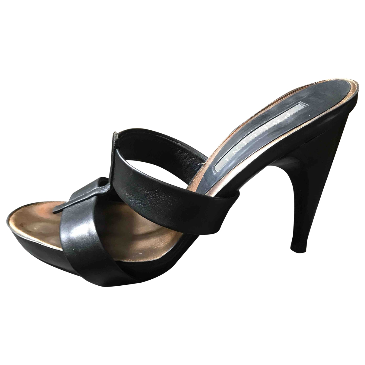 Pollini - Sabots   pour femme en cuir - noir