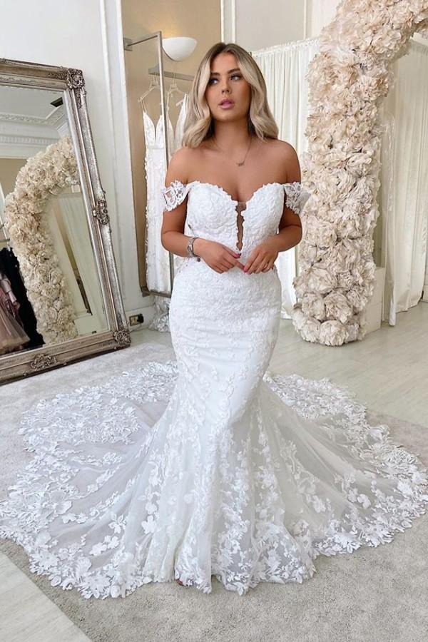 Hors de lepaule sirene robes de mariee Appliques   Robes de mariee dos nu en dentelle