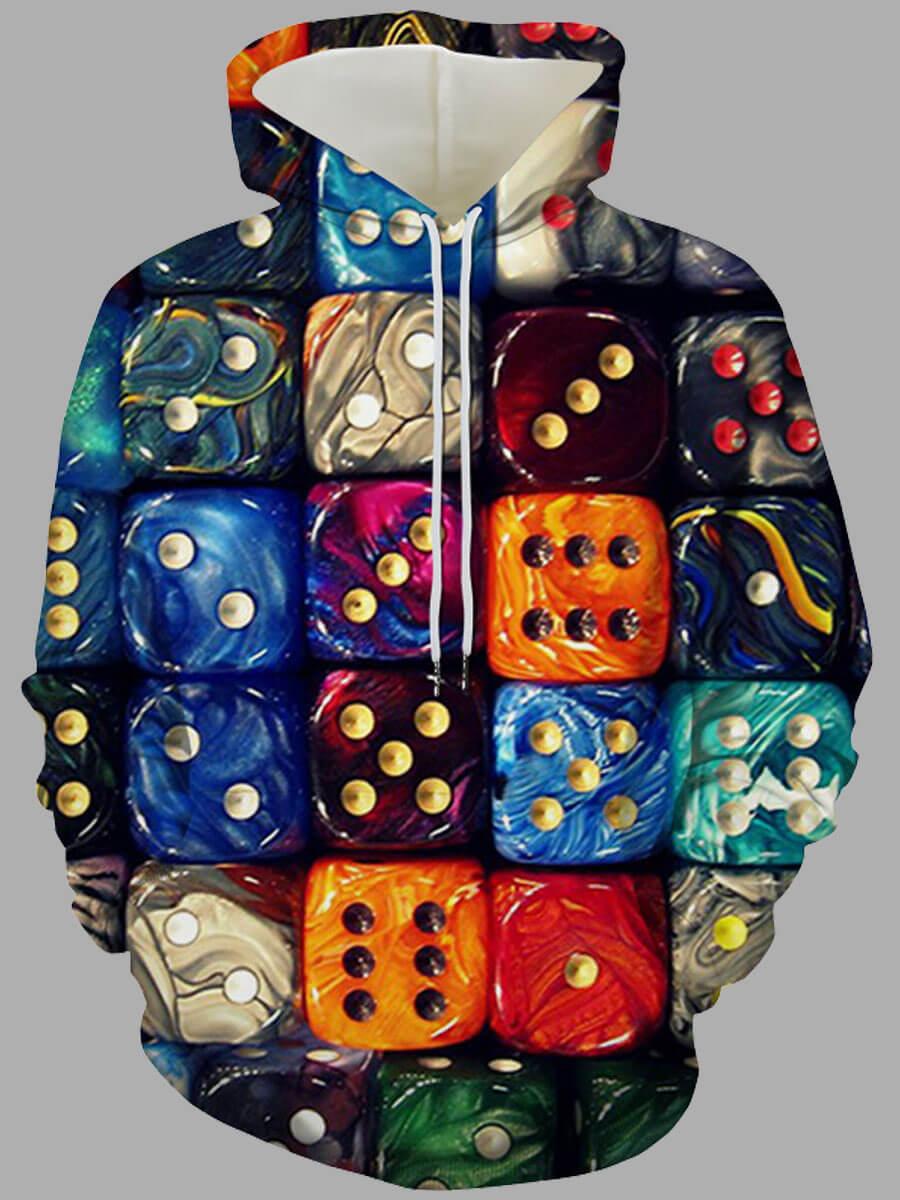 LW Lovely Street Hooded Collar Print Multicolor Hoodie