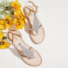 Toe Post Rhinestone Decor Sandals