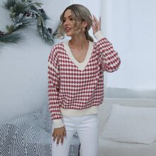Drop Shoulder Allover Print Sweater