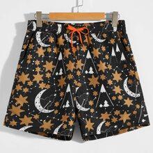 Men Star and Moon Print Slant Pocket Shorts