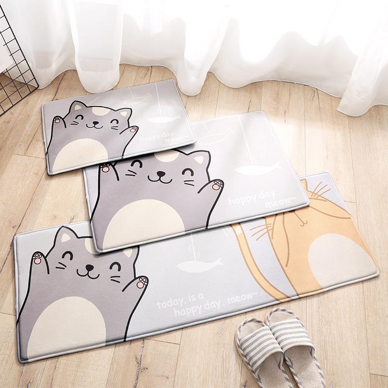 Cartoon Style Flannel Rectangle Anti-Slip Water Absorption Area Rug