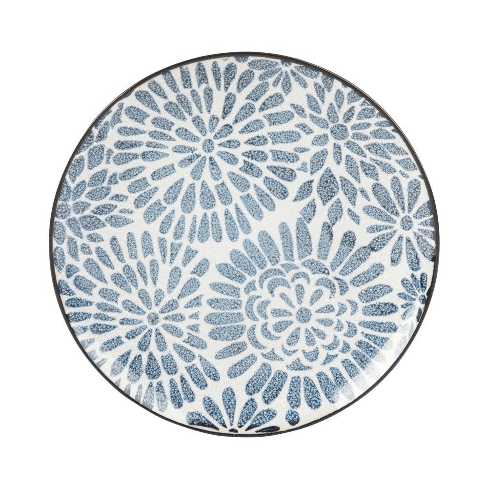 Dessertteller aus Steinzeug, weiss mit blauen Grafikmustern