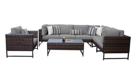 Barcelona BARCELONA-08d-BRN-GREY 8-Piece Patio Set 08d with 3 Corner Chairs  1 Club Chair  3 Armless Chairs and 1 Coffee Table - Beige and Grey