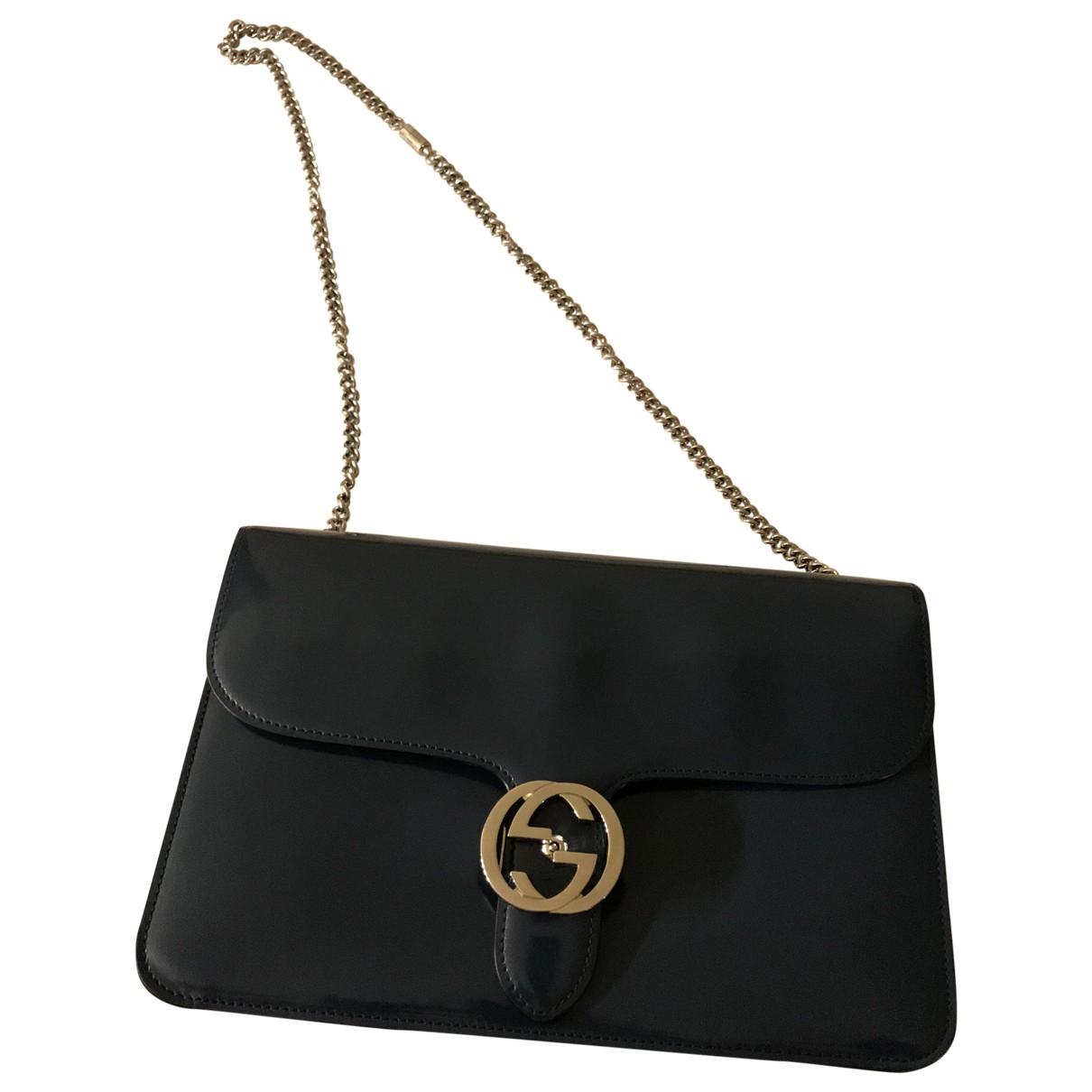 Gucci Interlocking Handtasche in  Gruen Lackleder
