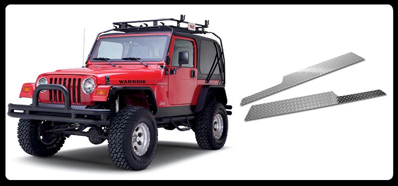 Warrior Products 909UPA Sideplates Polished Aluminum Finish Jeep TJ Wrangler 97-06
