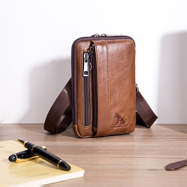 Men Genuine Leather Solid Waist Bag Shoulder Phone Bag Crossbody Bag