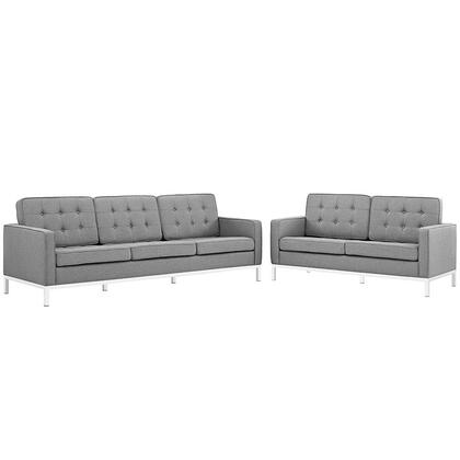 Loft Collection EEI-2444-LGR-SET 2 PC Living Room Set with Sofa  Loveseat  Removable Zippered Cushion Cover  Track Arms  Stainless Steel Frame and