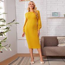 Maternity Bishop Sleeve Solid Dress