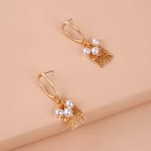 Faux Pearl Decor Geometric Drop Earrings
