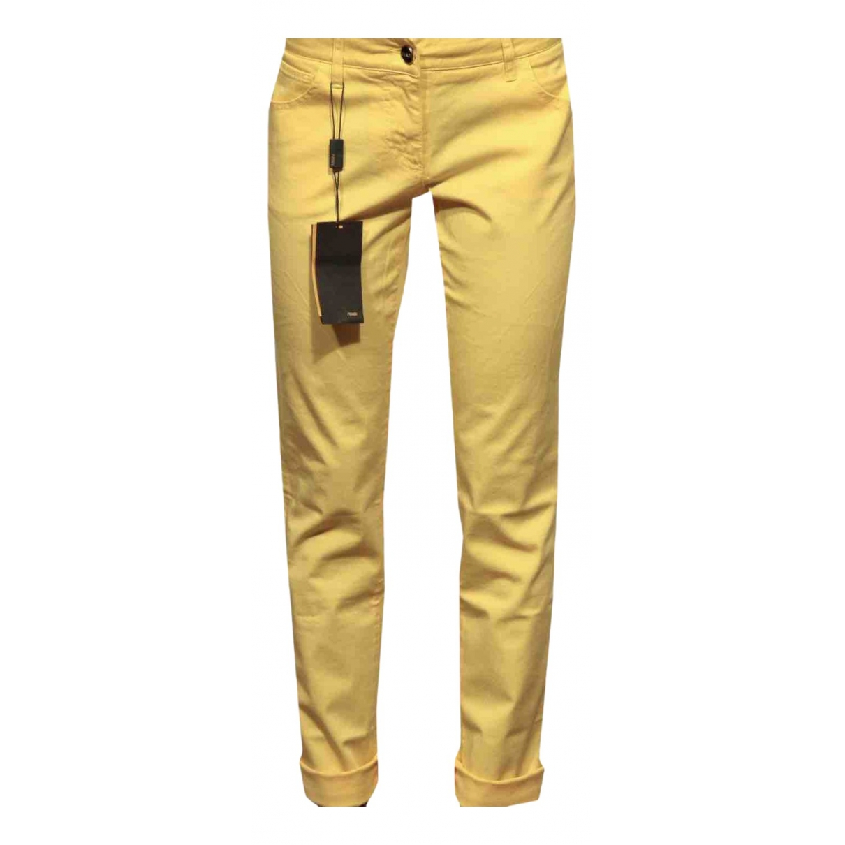 Fendi \N Yellow Cotton Trousers for Women 46 IT