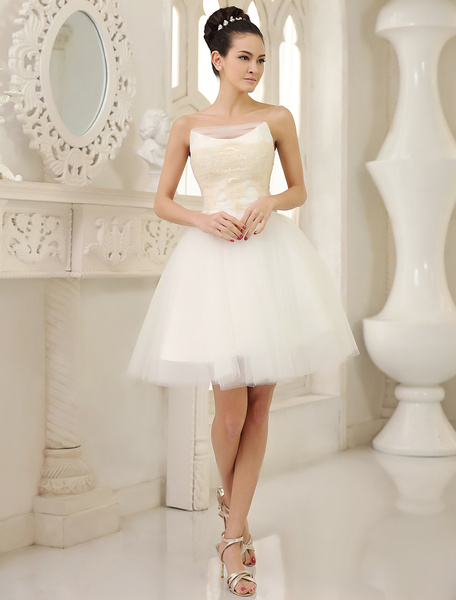 Milanoo Simple Wedding Dresses Ivory A Line Strapless Lace Knee Length Tulle Wedding Reception Dress