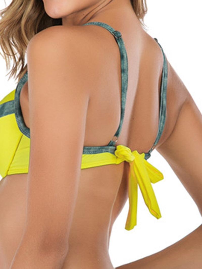 Ericdress Lace-Up Color Block Bowknot Swimsuit