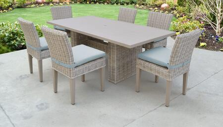 Coast Collection COAST-DTREC-KIT-6C-SPA Patio Dining Set With 1 Table  6 Side Chairs - Beige and Spa