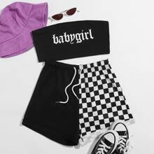 Letter Graphic Tube Top & Contrast Checkerboard Shorts