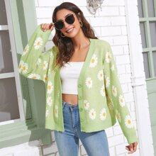 Button Front Daisy Floral Pattern Cardigan
