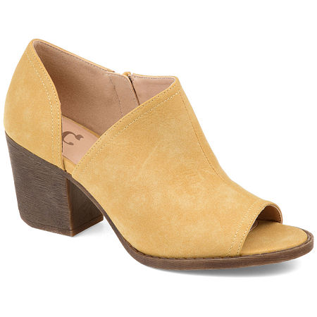 Journee Collection Womens Hartli Booties Stacked Heel Zip, 7 1/2 Medium, Yellow