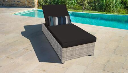Fairmont Collection FAIRMONT-W-1x-BLACK Wicker Patio Chaise with Wheels - Beige and Black