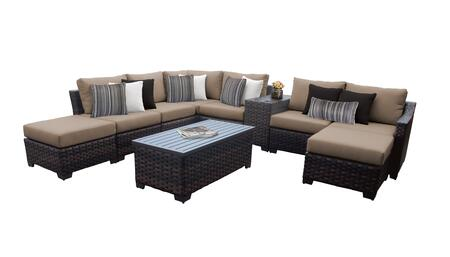 RIVER-10d-WHEAT Kathy Ireland Homes and Gardens River Brook 10-Piece Wicker Patio Set 10d - 1 Set of Truffle and 1 Set of Toffee